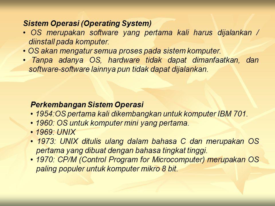 Sistem Operasi (Operating System) OS merupakan software yang pertama kali harus dijalankan / diinstall pada komputer. OS akan mengatur semua proses pa