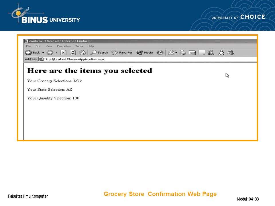 Fakultas Ilmu Komputer Modul-04-33 Grocery Store Confirmation Web Page