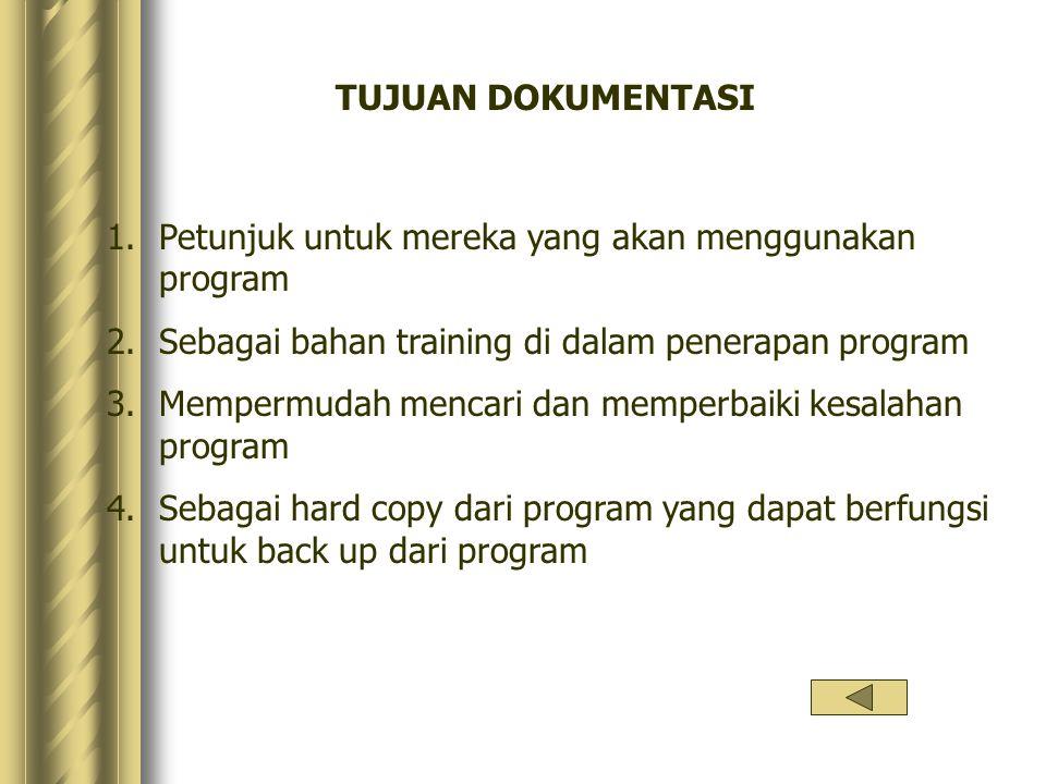 TUJUAN DOKUMENTASI 1.Petunjuk untuk mereka yang akan menggunakan program 2.Sebagai bahan training di dalam penerapan program 3.Mempermudah mencari dan
