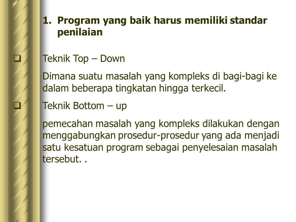 1.Program yang baik harus memiliki standar penilaian  Teknik Top – Down Dimana suatu masalah yang kompleks di bagi-bagi ke dalam beberapa tingkatan h