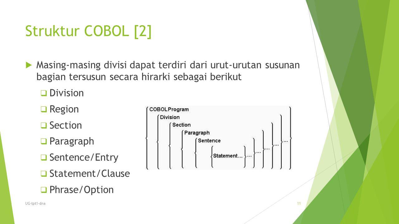 Struktur COBOL [2]  Masing-masing divisi dapat terdiri dari urut-urutan susunan bagian tersusun secara hirarki sebagai berikut  Division  Region 