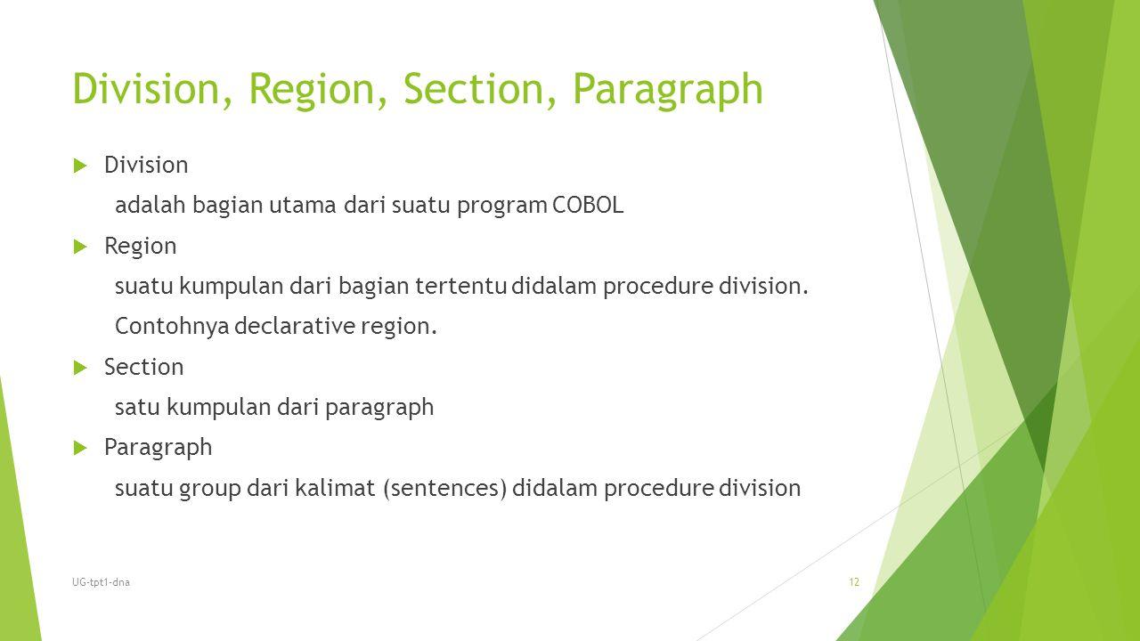 Division, Region, Section, Paragraph  Division adalah bagian utama dari suatu program COBOL  Region suatu kumpulan dari bagian tertentu didalam proc