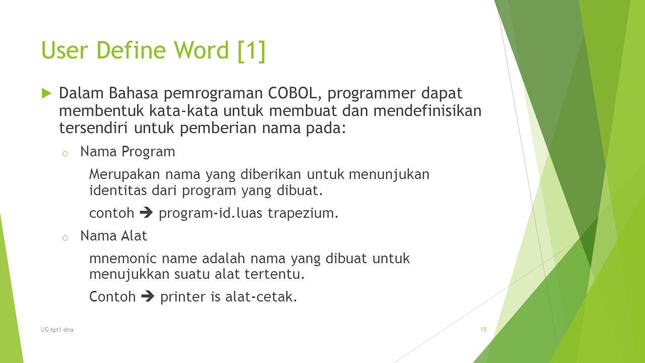 User Define Word [1]  Dalam Bahasa pemrograman COBOL, programmer dapat membentuk kata-kata untuk membuat dan mendefinisikan tersendiri untuk pemberia