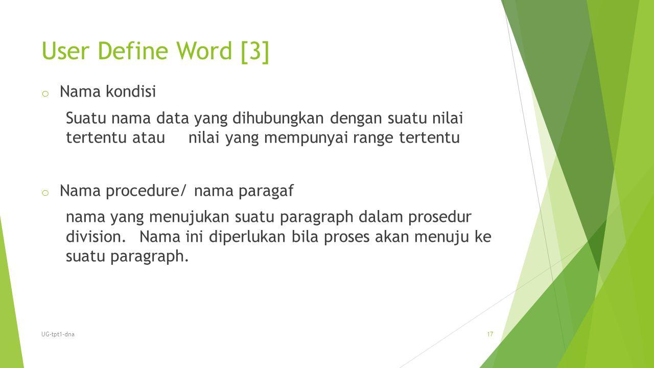 User Define Word [3] o Nama kondisi Suatu nama data yang dihubungkan dengan suatu nilai tertentu atau nilai yang mempunyai range tertentu o Nama proce