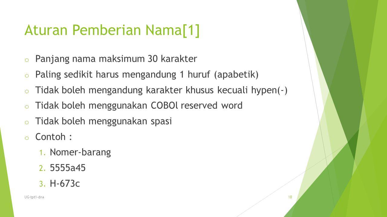 Aturan Pemberian Nama[1] o Panjang nama maksimum 30 karakter o Paling sedikit harus mengandung 1 huruf (apabetik) o Tidak boleh mengandung karakter kh