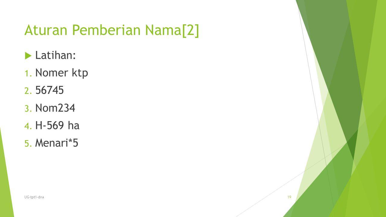 Aturan Pemberian Nama[2]  Latihan: 1. Nomer ktp 2. 56745 3. Nom234 4. H-569 ha 5. Menari*5 UG-tpt1-dna19