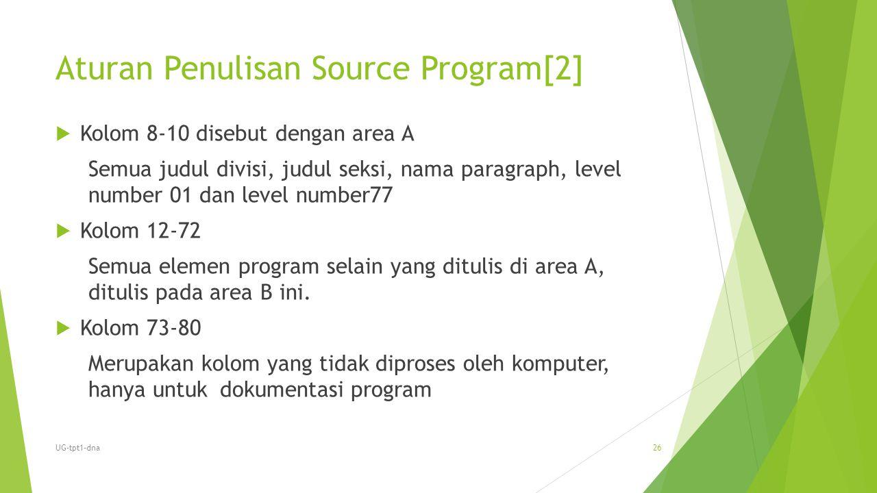 Aturan Penulisan Source Program[2]  Kolom 8-10 disebut dengan area A Semua judul divisi, judul seksi, nama paragraph, level number 01 dan level numbe