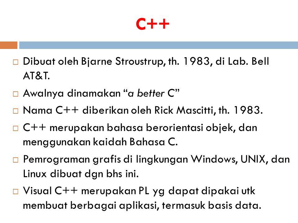 """C++  Dibuat oleh Bjarne Stroustrup, th. 1983, di Lab. Bell AT&T.  Awalnya dinamakan """"a better C""""  Nama C++ diberikan oleh Rick Mascitti, th. 1983."""