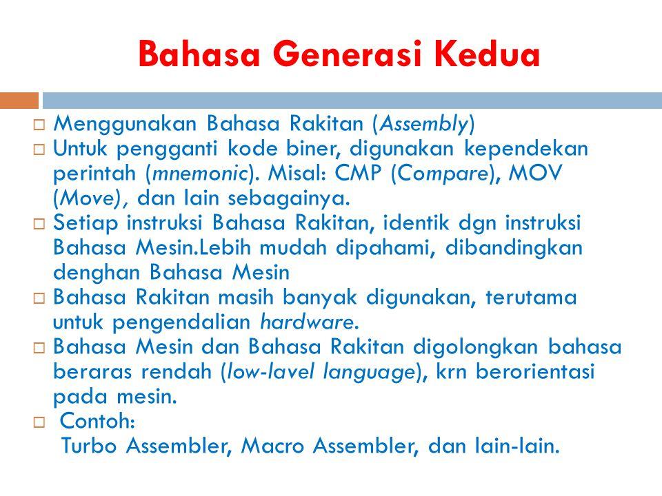 Bahasa Generasi Kedua  Menggunakan Bahasa Rakitan (Assembly)  Untuk pengganti kode biner, digunakan kependekan perintah (mnemonic). Misal: CMP (Comp