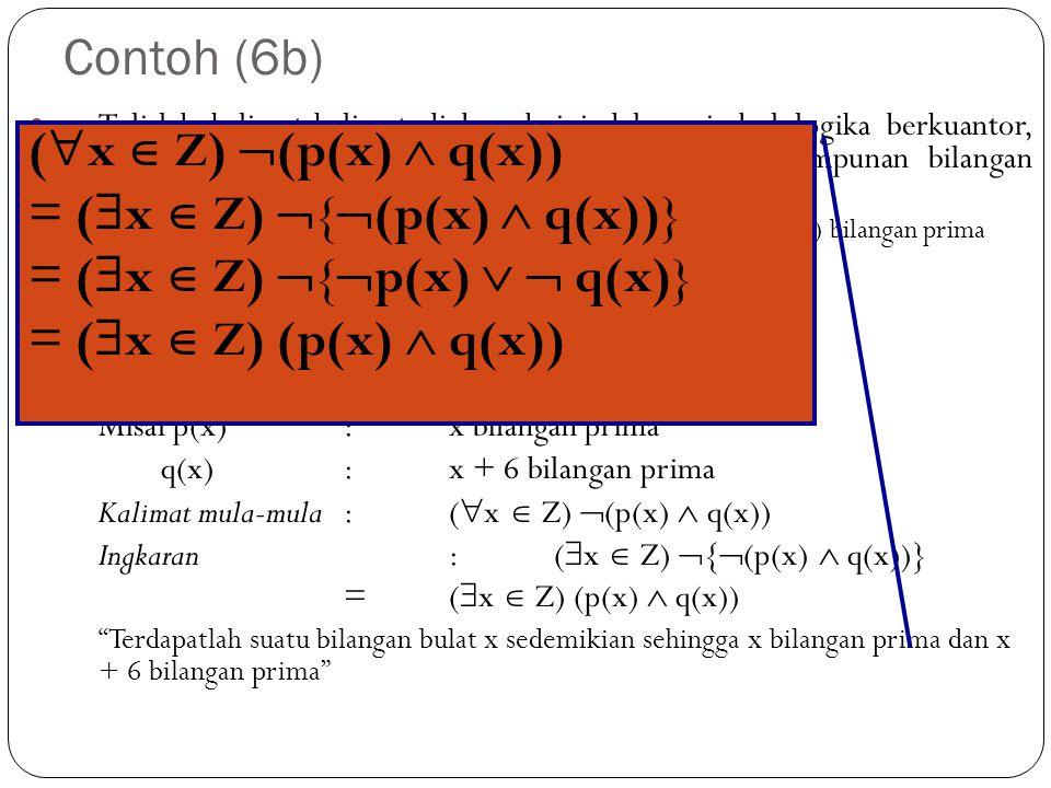 Contoh (6b) Tulislah kalimat-kalimat di bawah ini dalam simbol logika berkuantor, kemudian tulislah ingkarannya (semestanya adalah himpunan bilangan b