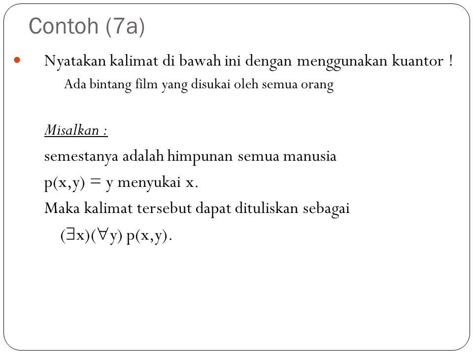 Contoh (7a) Nyatakan kalimat di bawah ini dengan menggunakan kuantor ! Ada bintang film yang disukai oleh semua orang Misalkan : semestanya adalah him