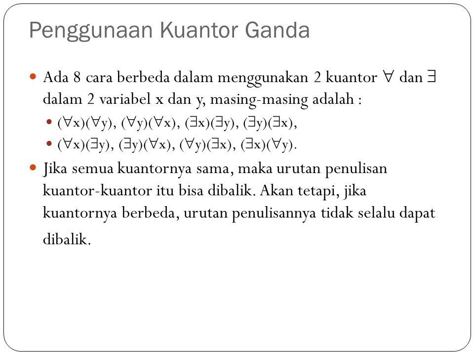 Penggunaan Kuantor Ganda Ada 8 cara berbeda dalam menggunakan 2 kuantor  dan  dalam 2 variabel x dan y, masing-masing adalah : (  x)(  y), (  y)(