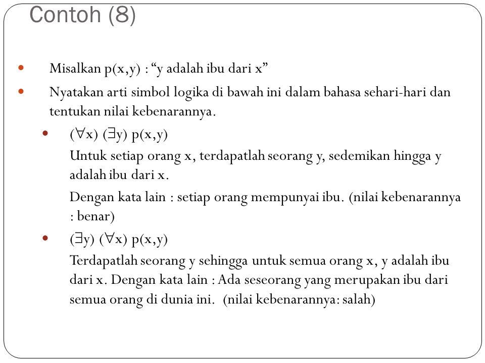 "Contoh (8) Misalkan p(x,y) : ""y adalah ibu dari x"" Nyatakan arti simbol logika di bawah ini dalam bahasa sehari-hari dan tentukan nilai kebenarannya."