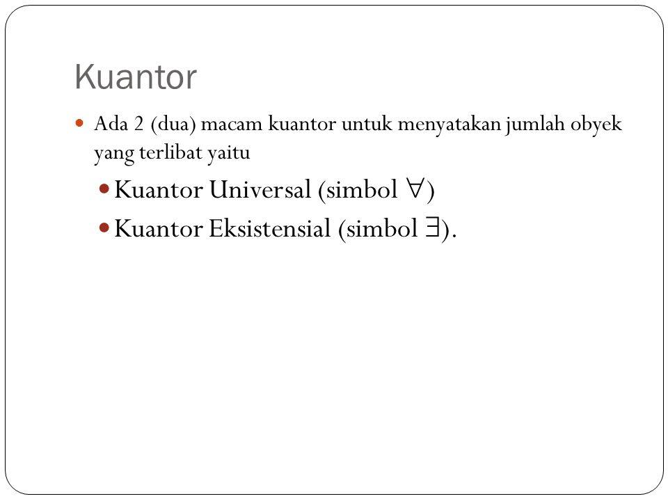 Kuantor Ada 2 (dua) macam kuantor untuk menyatakan jumlah obyek yang terlibat yaitu Kuantor Universal (simbol  ) Kuantor Eksistensial (simbol  ).