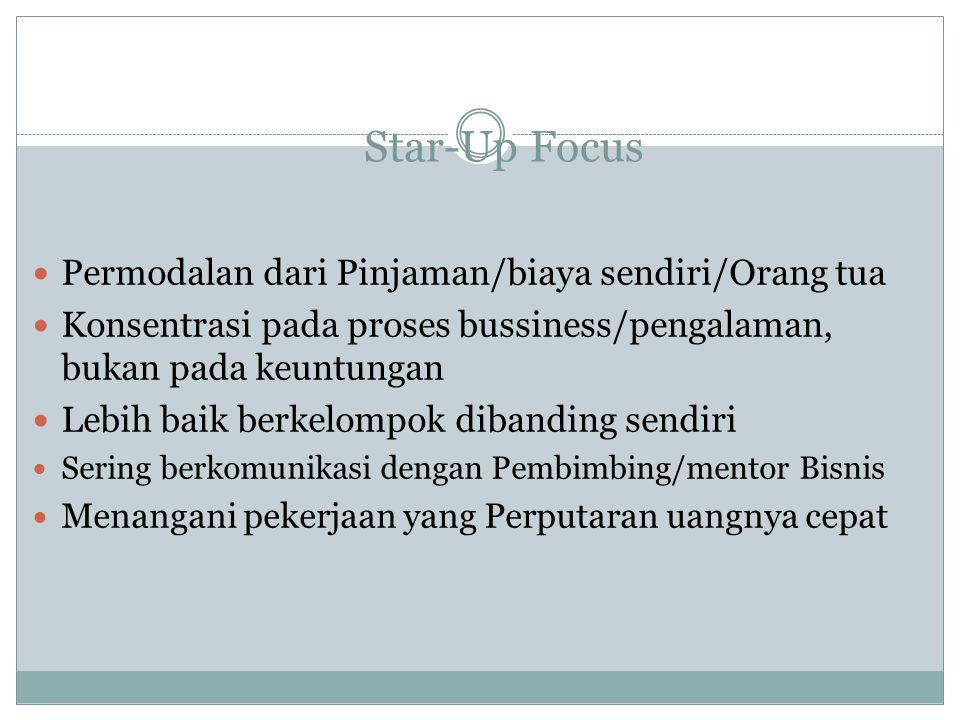 Star-Up Focus Permodalan dari Pinjaman/biaya sendiri/Orang tua Konsentrasi pada proses bussiness/pengalaman, bukan pada keuntungan Lebih baik berkelom
