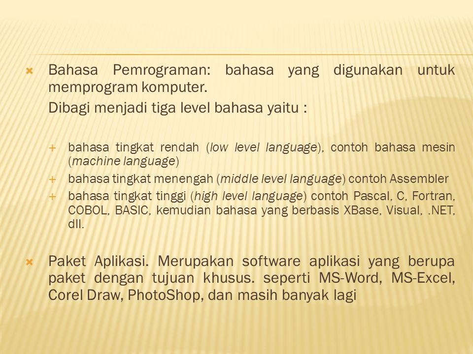  Bahasa Pemrograman: bahasa yang digunakan untuk memprogram komputer. Dibagi menjadi tiga level bahasa yaitu :  bahasa tingkat rendah (low level lan