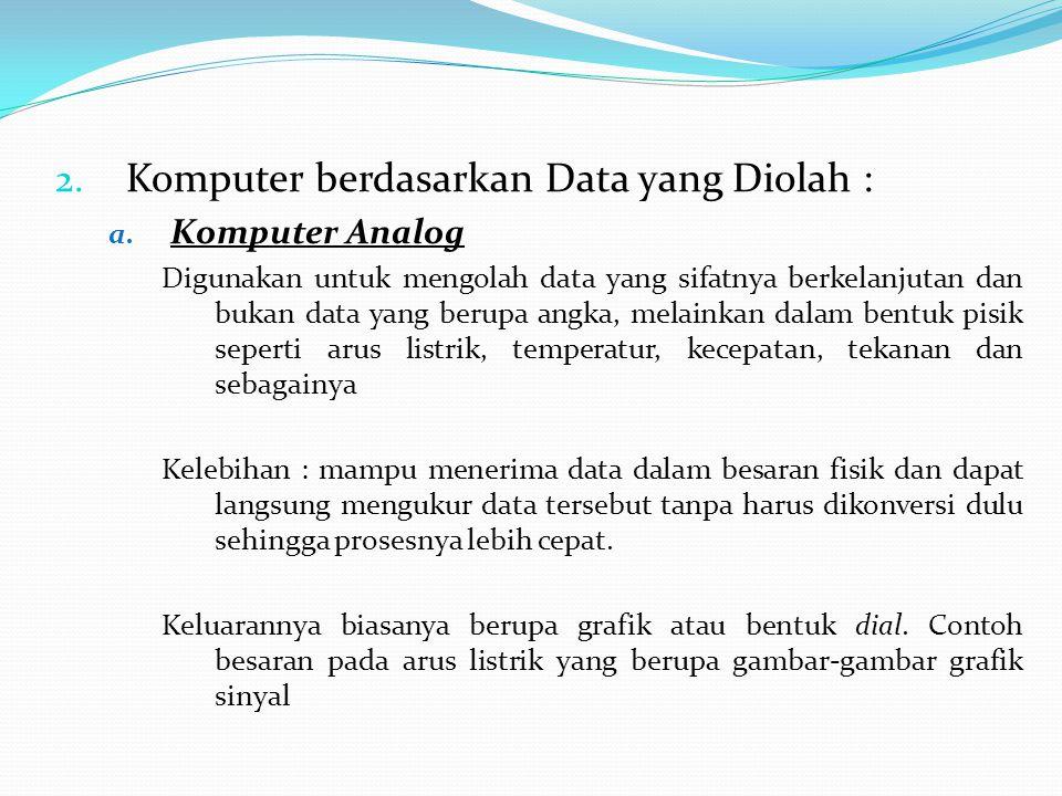2. Komputer berdasarkan Data yang Diolah : a. Komputer Analog Digunakan untuk mengolah data yang sifatnya berkelanjutan dan bukan data yang berupa ang