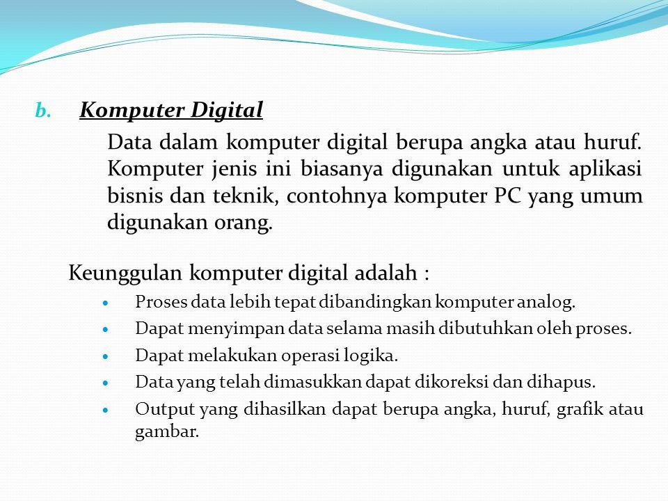 b. Komputer Digital Data dalam komputer digital berupa angka atau huruf. Komputer jenis ini biasanya digunakan untuk aplikasi bisnis dan teknik, conto