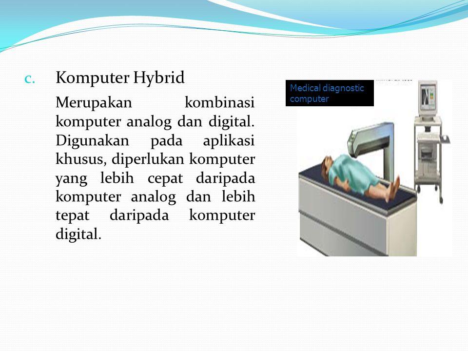 c. Komputer Hybrid Merupakan kombinasi komputer analog dan digital. Digunakan pada aplikasi khusus, diperlukan komputer yang lebih cepat daripada komp