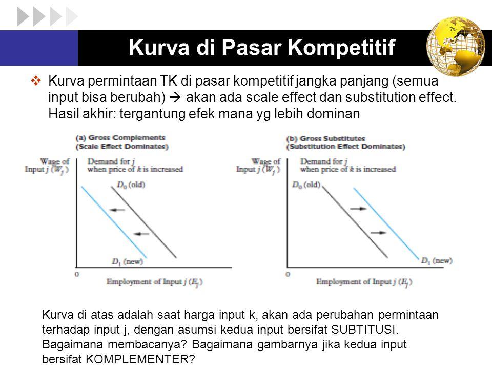  Kurva permintaan TK di pasar kompetitif jangka panjang (semua input bisa berubah)  akan ada scale effect dan substitution effect. Hasil akhir: terg