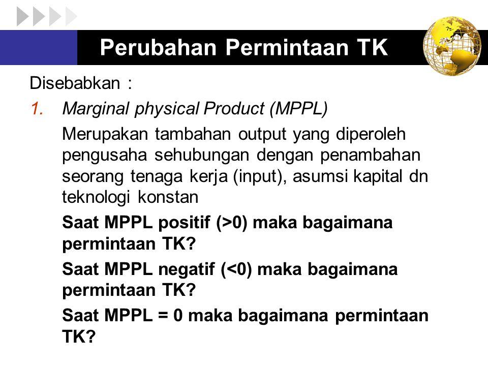 Perubahan Permintaan TK Disebabkan : 1.Marginal physical Product (MPPL) Merupakan tambahan output yang diperoleh pengusaha sehubungan dengan penambaha