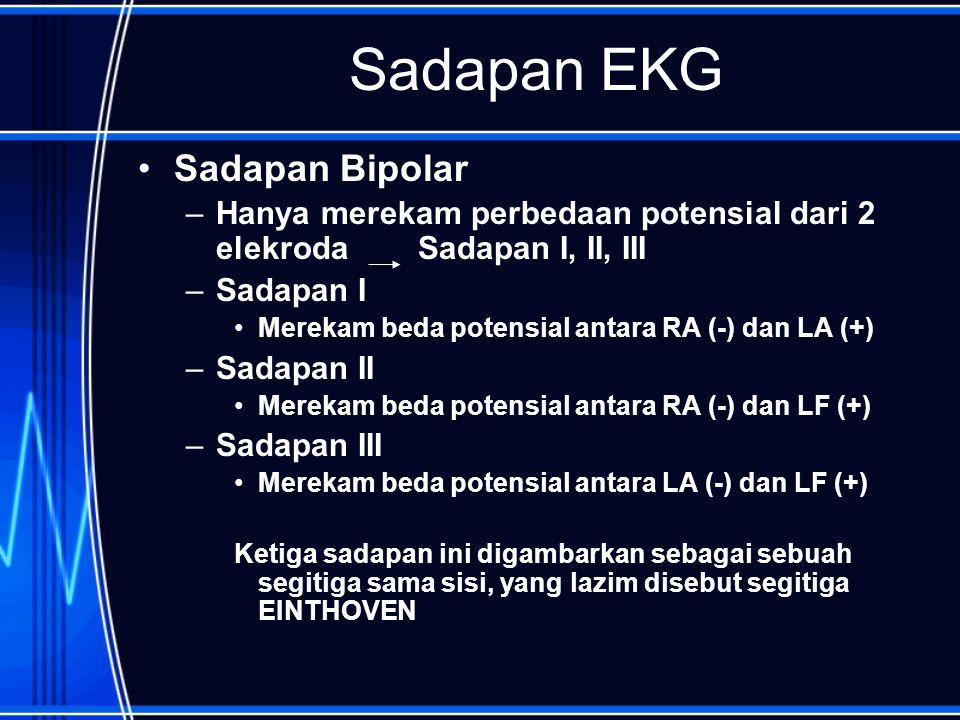 Sadapan EKG Sadapan Bipolar –Hanya merekam perbedaan potensial dari 2 elekroda Sadapan I, II, III –Sadapan I Merekam beda potensial antara RA (-) dan