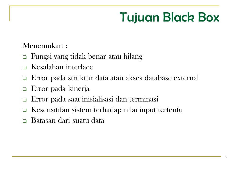 Tujuan Black Box Menemukan :  Fungsi yang tidak benar atau hilang  Kesalahan interface  Error pada struktur data atau akses database external  Error pada kinerja  Error pada saat inisialisasi dan terminasi  Kesensitifan sistem terhadap nilai input tertentu  Batasan dari suatu data 5