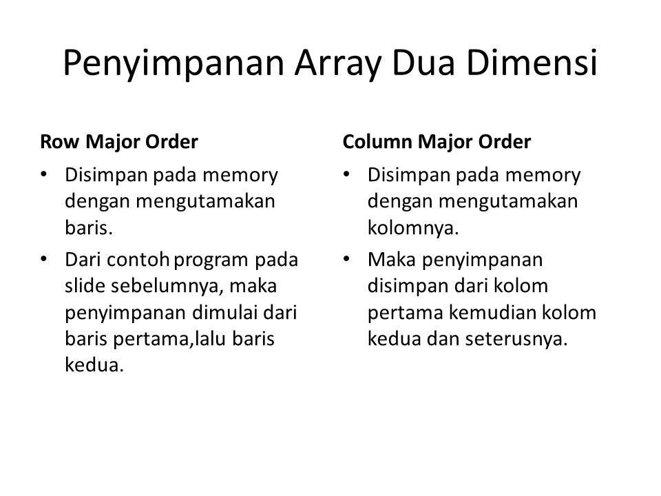 Penyimpanan Array Dua Dimensi Row Major Order Disimpan pada memory dengan mengutamakan baris.