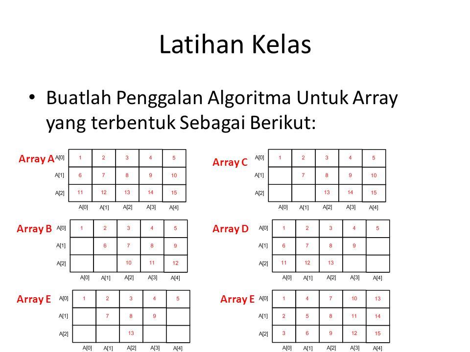 Latihan Kelas Buatlah Penggalan Algoritma Untuk Array yang terbentuk Sebagai Berikut: Array A Array B Array C Array D Array E