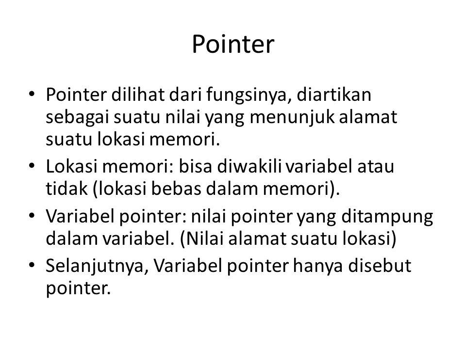 Pointer Pointer dilihat dari fungsinya, diartikan sebagai suatu nilai yang menunjuk alamat suatu lokasi memori.
