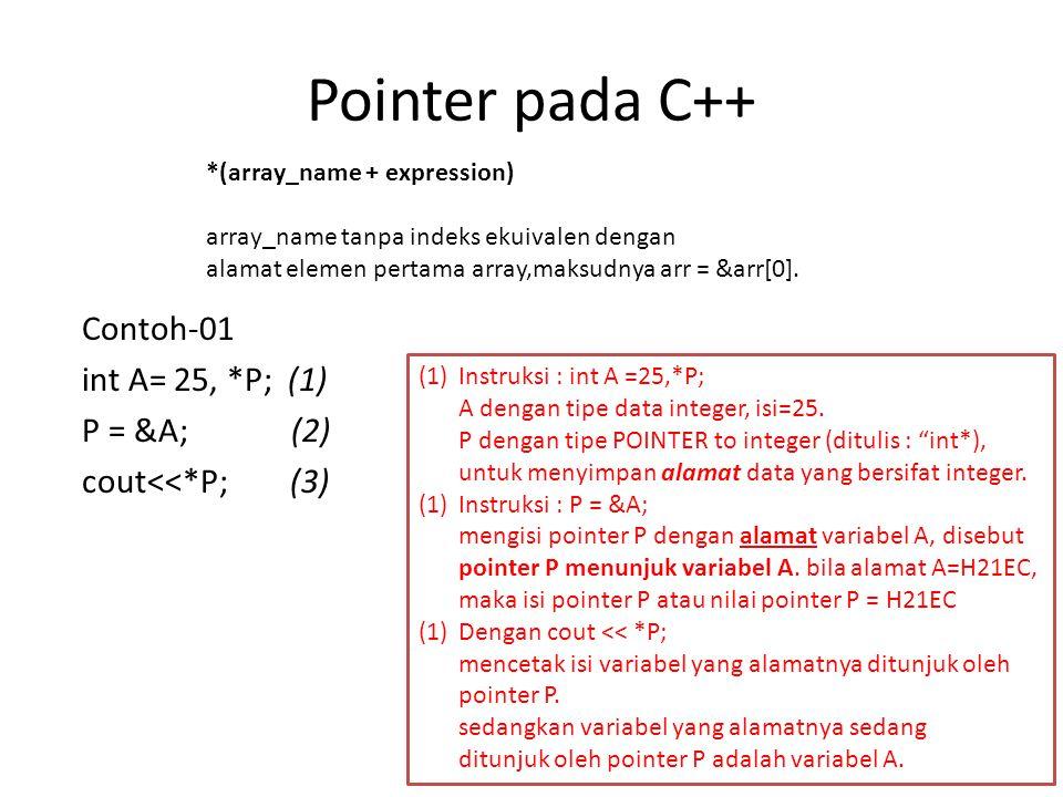 Pointer pada C++ Contoh-01 int A= 25, *P; (1) P = &A; (2) cout<<*P; (3) *(array_name + expression) array_name tanpa indeks ekuivalen dengan alamat elemen pertama array,maksudnya arr = &arr[0].