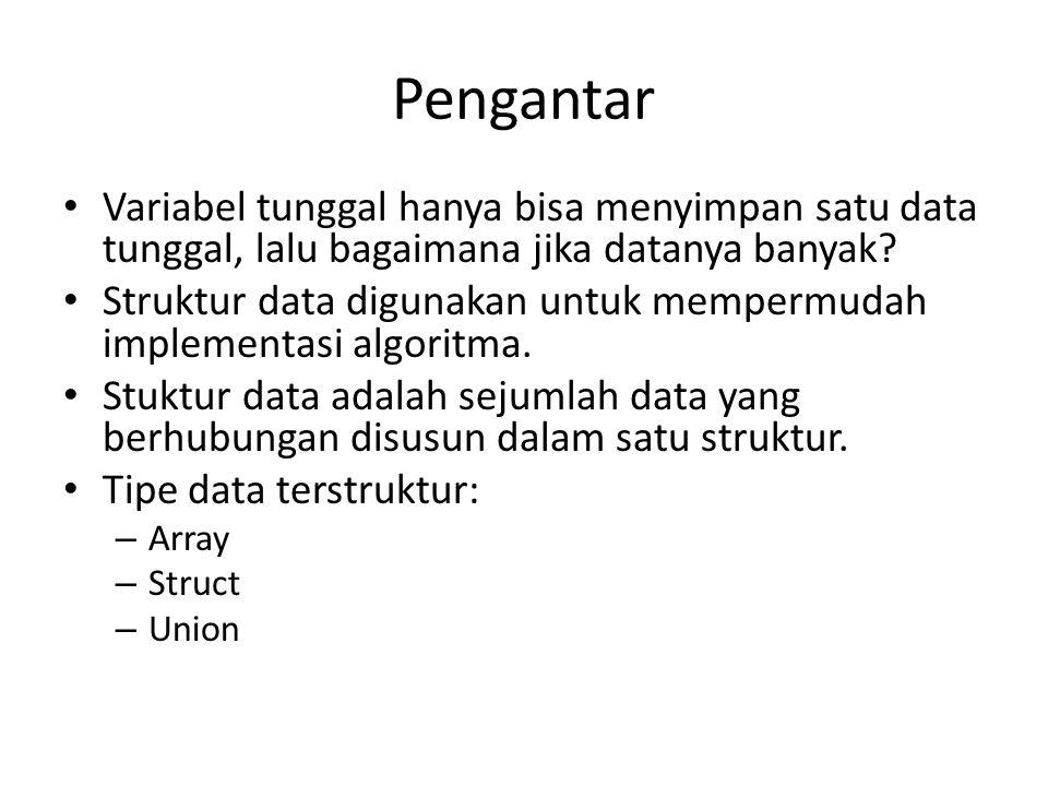 Pengantar Variabel tunggal hanya bisa menyimpan satu data tunggal, lalu bagaimana jika datanya banyak.