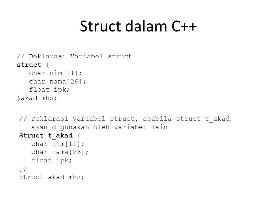 Struct dalam C++ // Deklarasi Variabel struct struct { char nim[11]; char nama[26]; float ipk; }akad_mhs; // Deklarasi Variabel struct, apabila struct t_akad akan digunakan oleh variabel lain Struct t_akad { char nim[11]; char nama[26]; float ipk; }; struct akad_mhs;