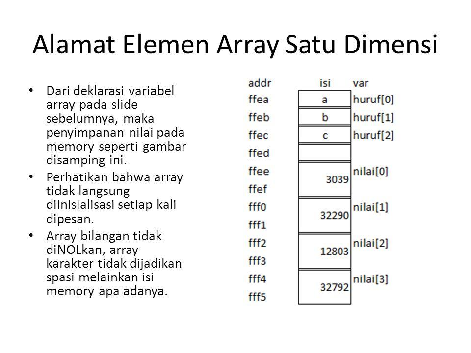 Alamat Elemen Array Satu Dimensi Dari deklarasi variabel array pada slide sebelumnya, maka penyimpanan nilai pada memory seperti gambar disamping ini.