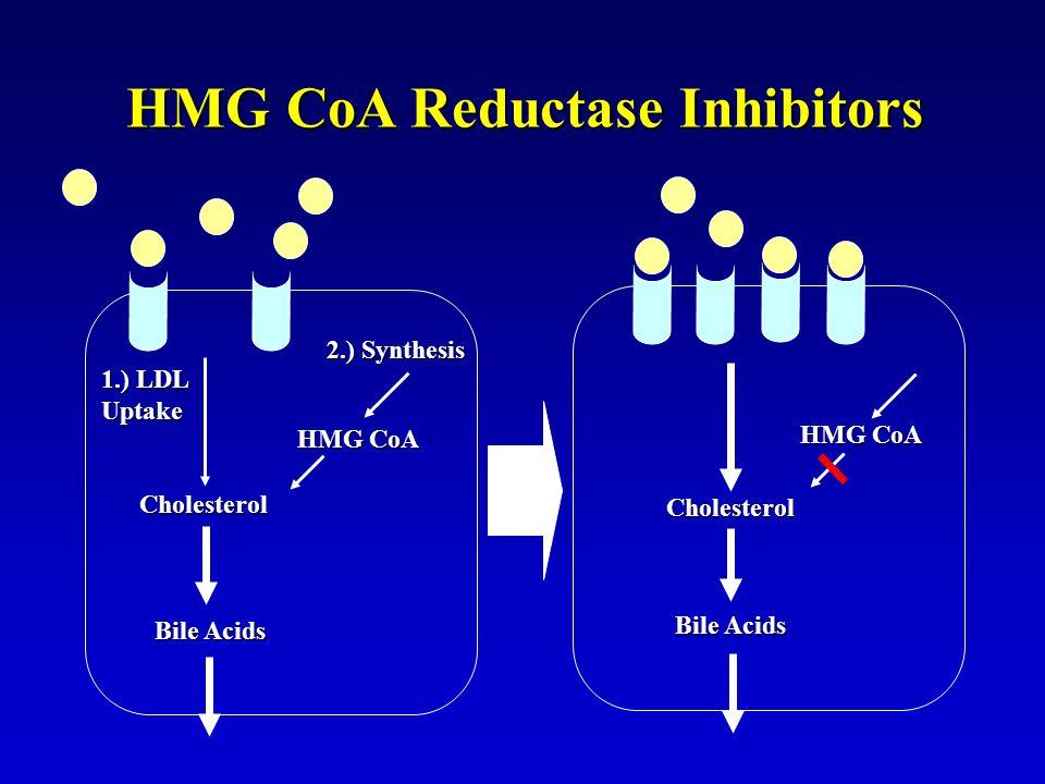 HMG CoA Reductase Inhibitors 1.) LDL Uptake Cholesterol 2.) Synthesis HMG CoA Bile Acids Cholesterol HMG CoA Bile Acids