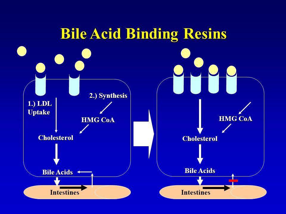 Bile Acid Binding Resins 1.) LDL Uptake Cholesterol 2.) Synthesis HMG CoA Bile Acids Cholesterol HMG CoA Bile Acids Intestines