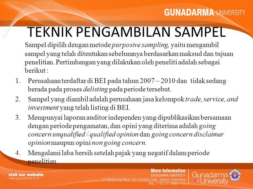TEKNIK PENGAMBILAN SAMPEL Sampel dipilih dengan metode purposive sampling, yaitu mengambil sampel yang telah ditentukan sebelumnya berdasarkan maksud