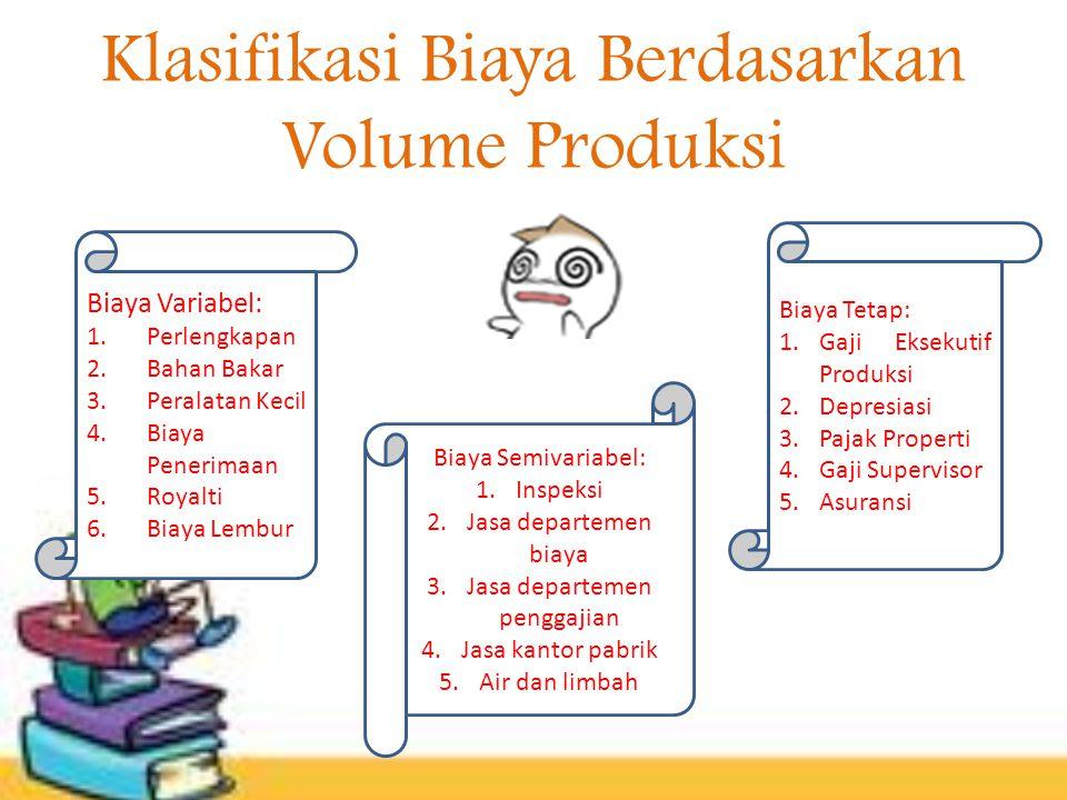 Klasifikasi Biaya Berdasarkan Volume Produksi Biaya Variabel: 1.Perlengkapan 2.Bahan Bakar 3.Peralatan Kecil 4.Biaya Penerimaan 5.Royalti 6.Biaya Lemb