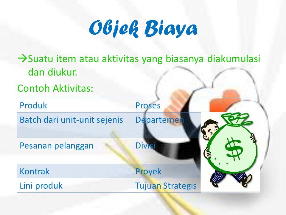 Objek Biaya  Suatu item atau aktivitas yang biasanya diakumulasi dan diukur. Contoh Aktivitas: ProdukProses Batch dari unit-unit sejenisDepartemen Pe