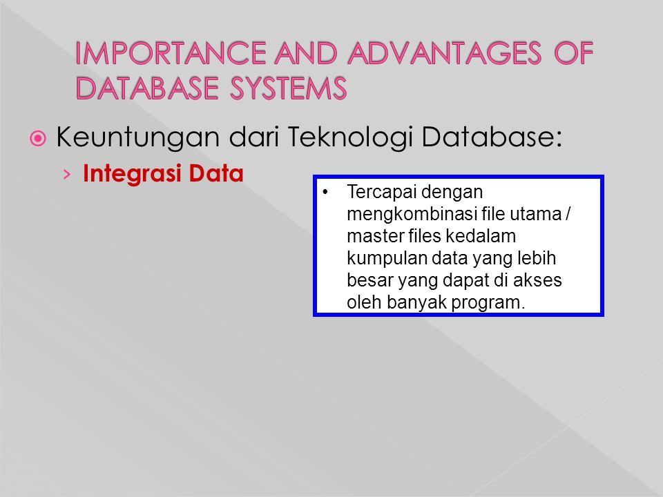  Keuntungan dari Teknologi Database: › Integrasi Data Tercapai dengan mengkombinasi file utama / master files kedalam kumpulan data yang lebih besar yang dapat di akses oleh banyak program.