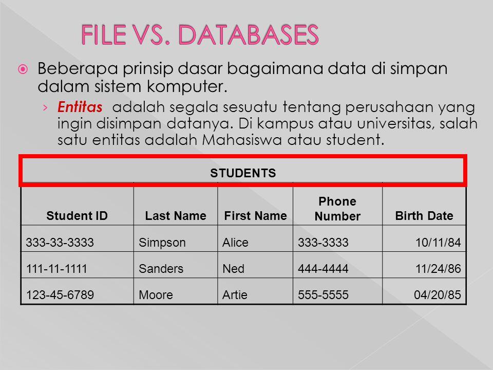  Beberapa prinsip dasar bagaimana data di simpan dalam sistem komputer.