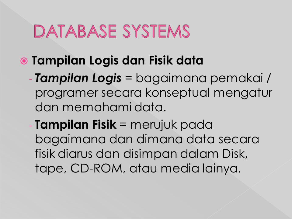  Tampilan Logis dan Fisik data - Tampilan Logis = bagaimana pemakai / programer secara konseptual mengatur dan memahami data.
