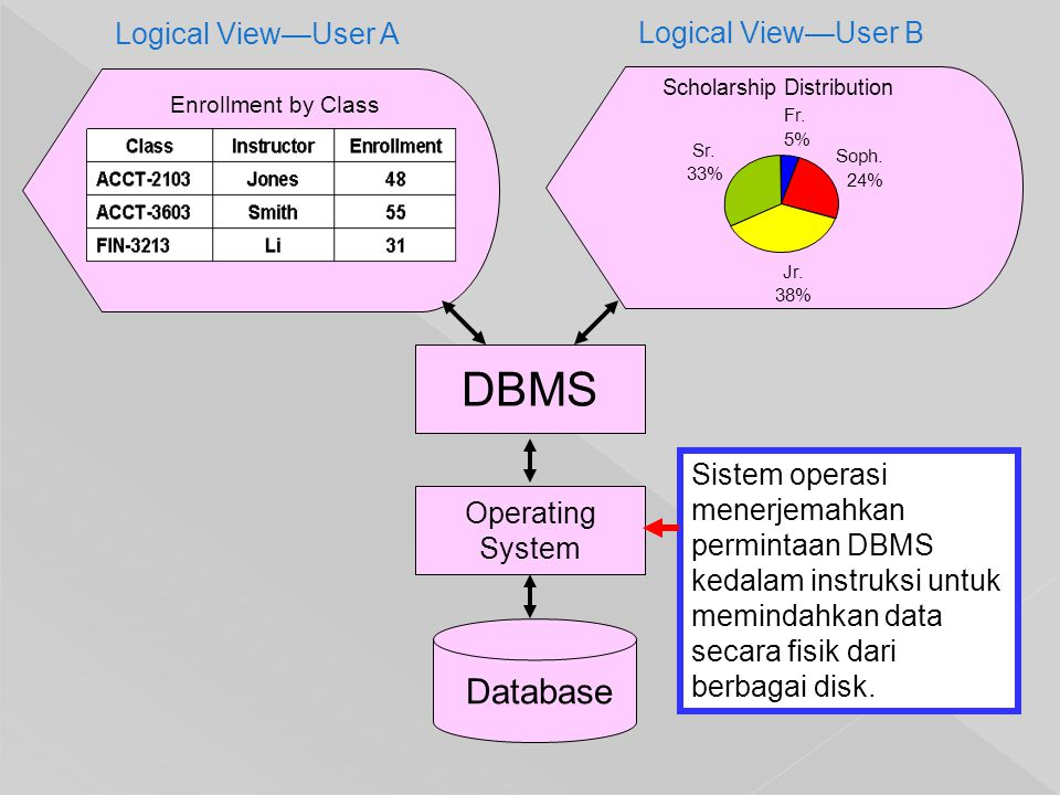 Database Enrollment by Class Logical View—User A Logical View—User B DBMS Operating System Sistem operasi menerjemahkan permintaan DBMS kedalam instru