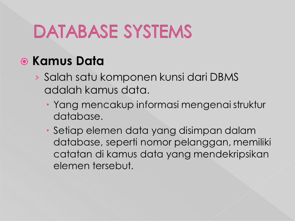  Kamus Data › Salah satu komponen kunsi dari DBMS adalah kamus data.