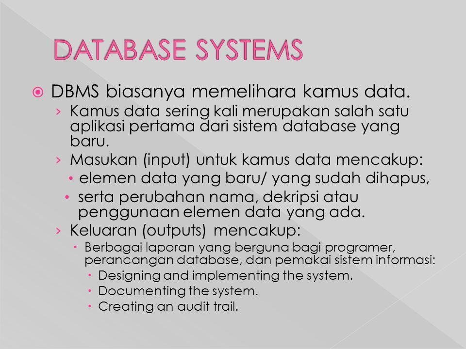  DBMS biasanya memelihara kamus data.