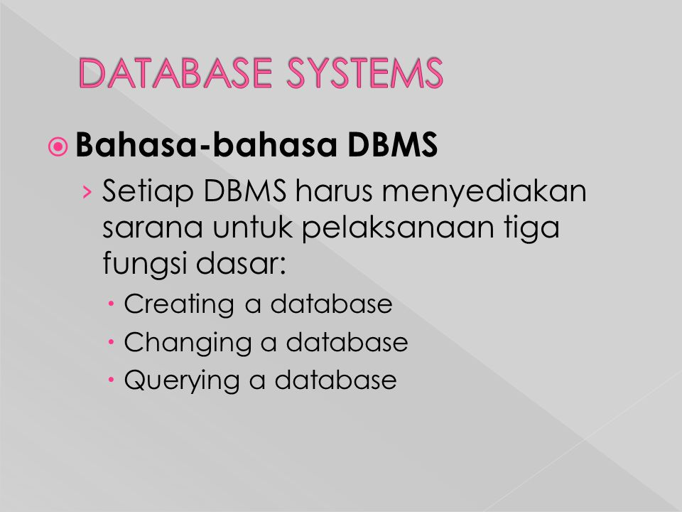  Bahasa-bahasa DBMS › Setiap DBMS harus menyediakan sarana untuk pelaksanaan tiga fungsi dasar:  Creating a database  Changing a database  Querying a database