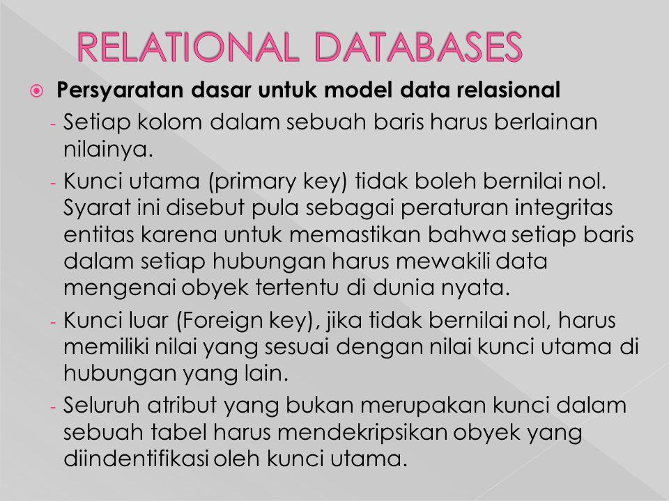  Persyaratan dasar untuk model data relasional - Setiap kolom dalam sebuah baris harus berlainan nilainya.