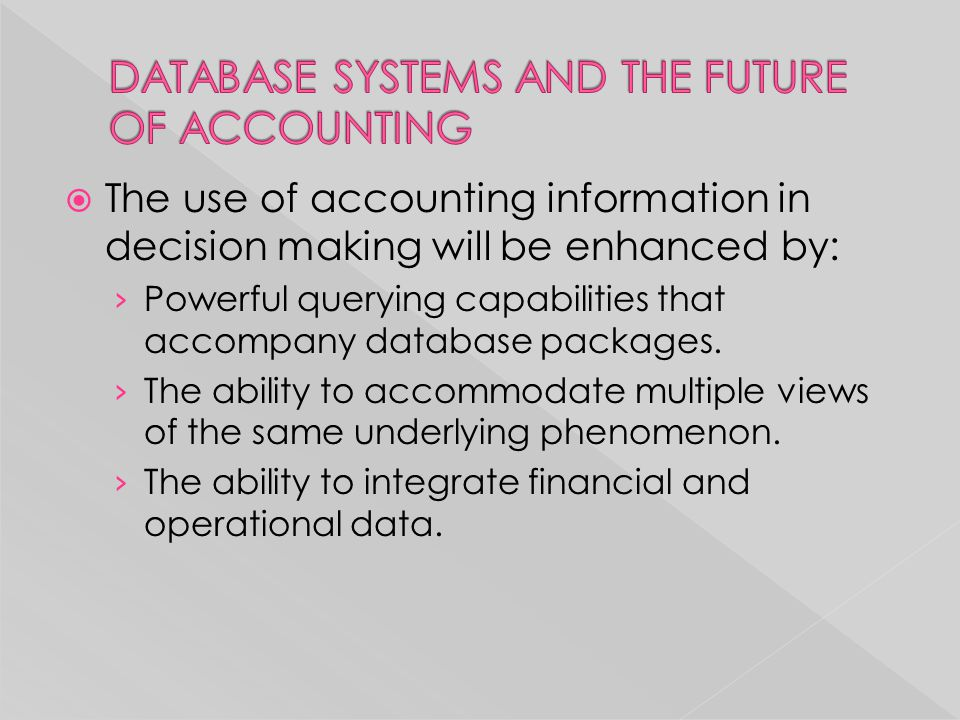  The use of accounting information in decision making will be enhanced by: › Powerful querying capabilities that accompany database packages. › The a