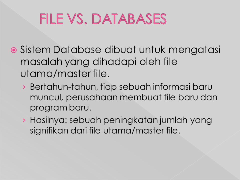  Sistem Database dibuat untuk mengatasi masalah yang dihadapi oleh file utama/master file.