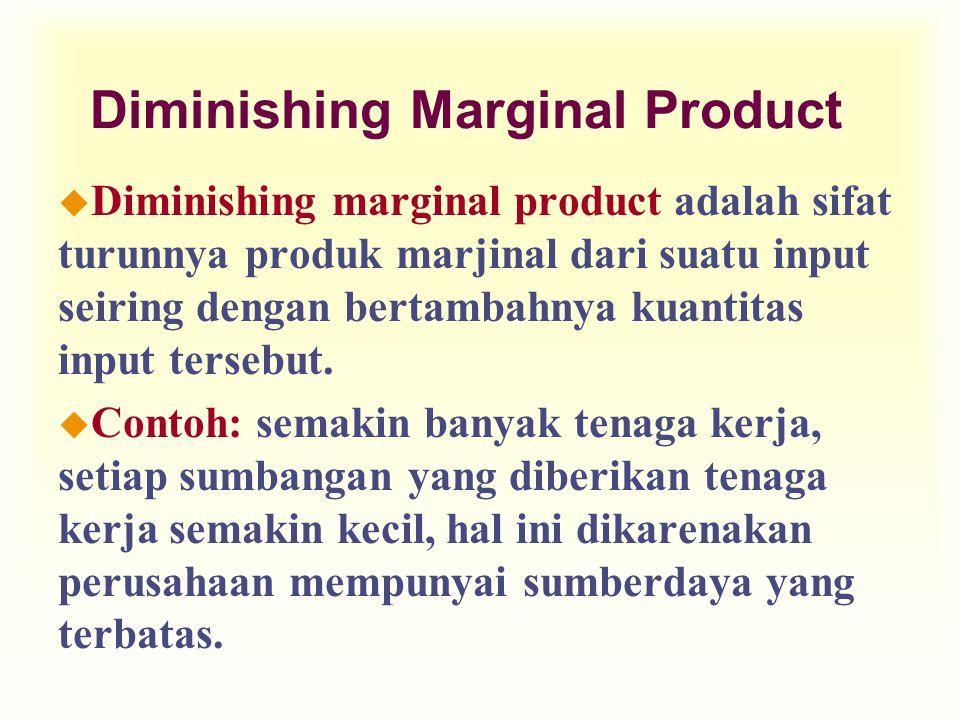 Diminishing Marginal Product u Diminishing marginal product adalah sifat turunnya produk marjinal dari suatu input seiring dengan bertambahnya kuantitas input tersebut.